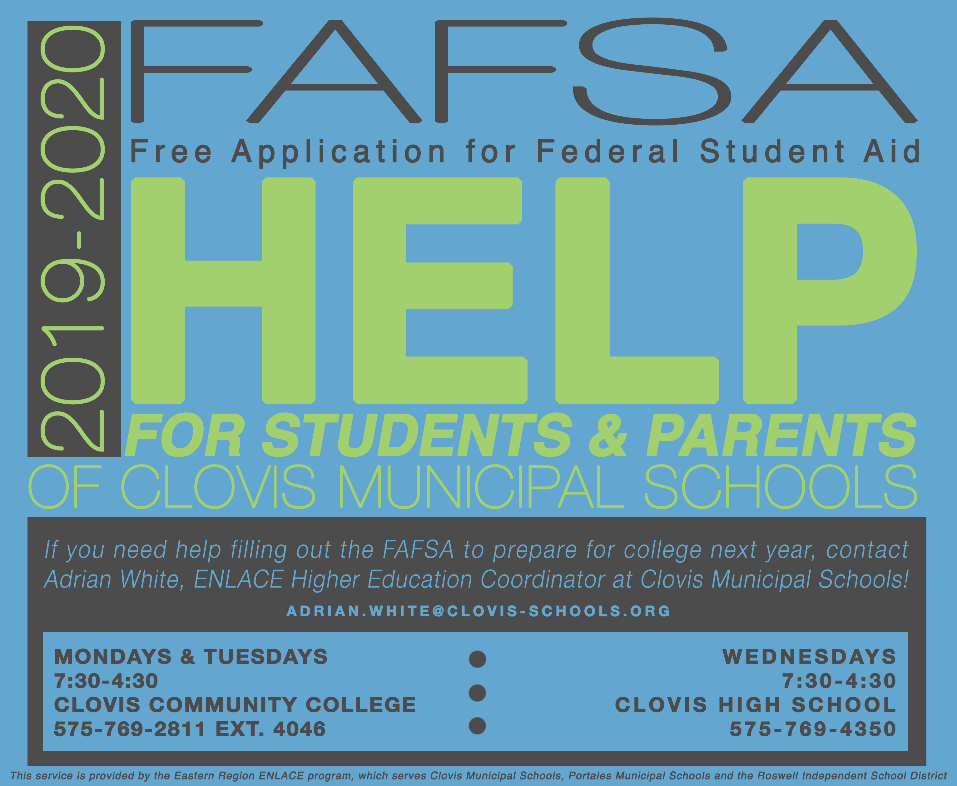 Image of text announcing help with the FAFSA