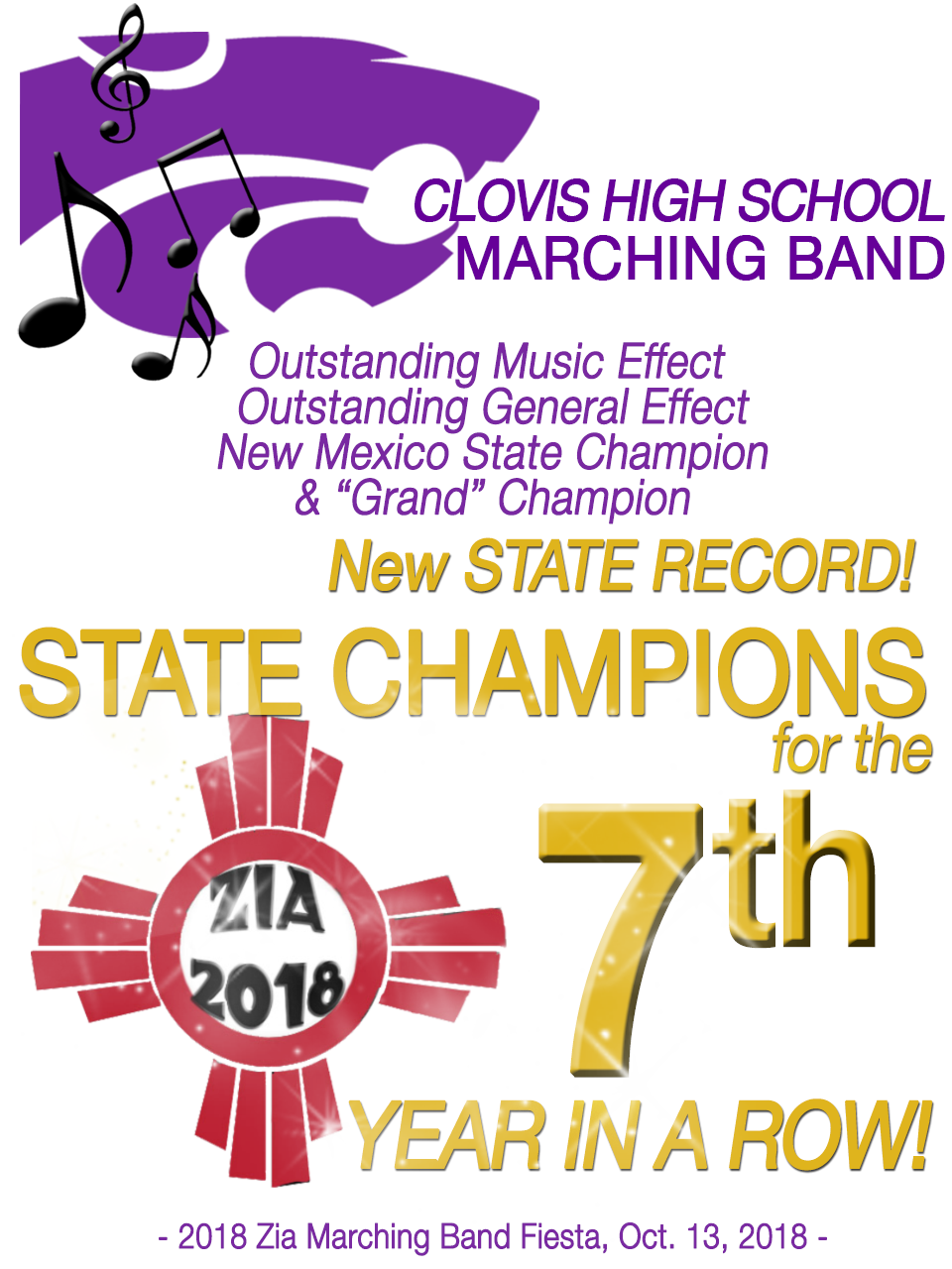 Image of text announcing Wildcat Marching Band championship win