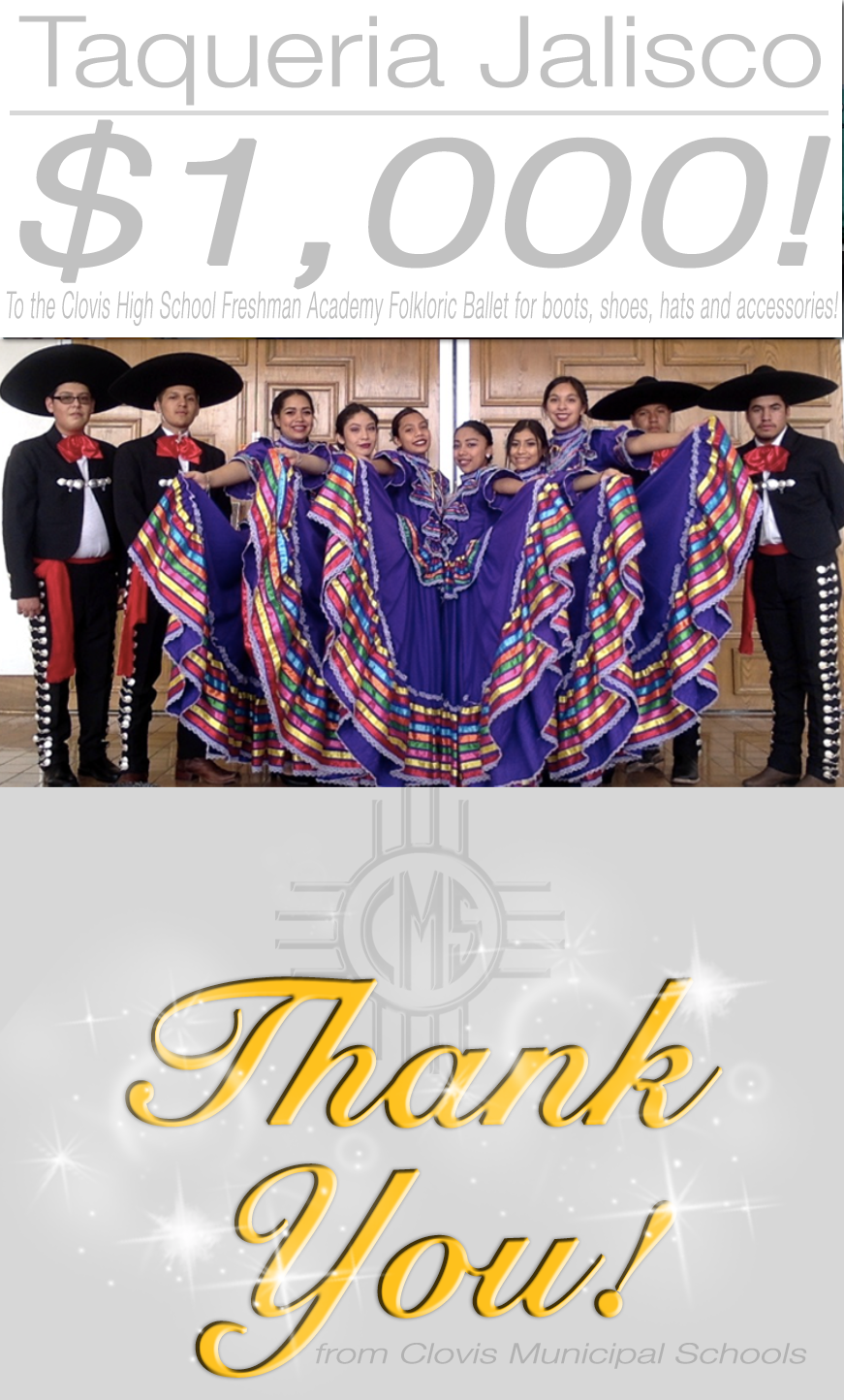 Image of text announcing donation from Taqueria Jalisco