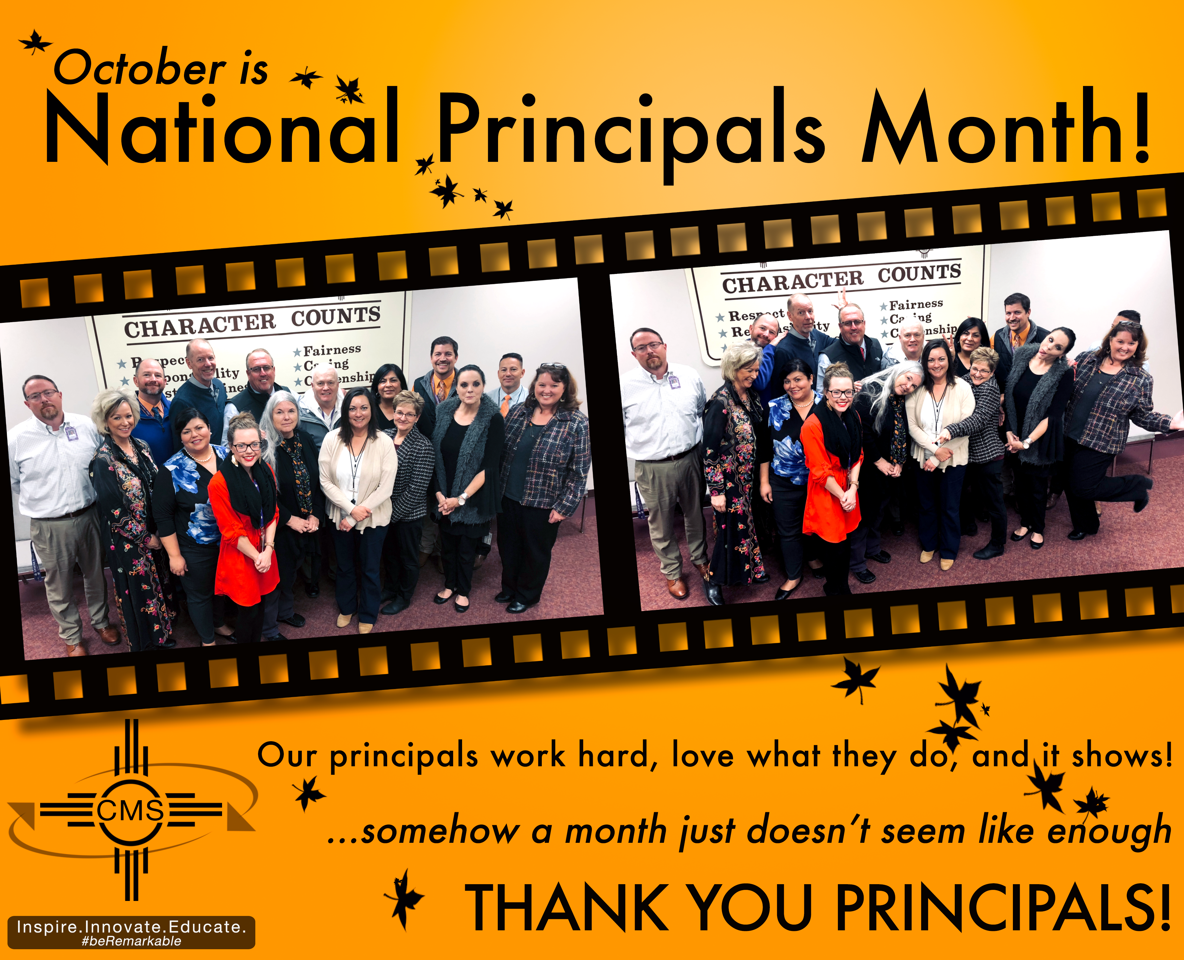 Group photo of CMS Principals with text announcing National Principals Month
