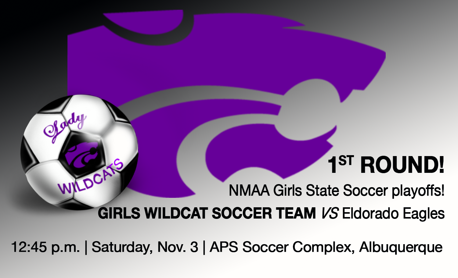 Image of text announcing girls state soccer tournament