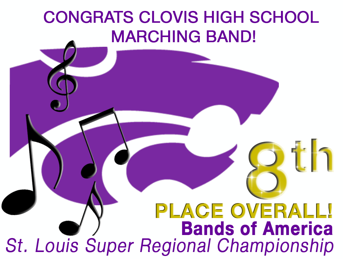 Image of text announcing CHS Marching Band Bands of Americ Competition