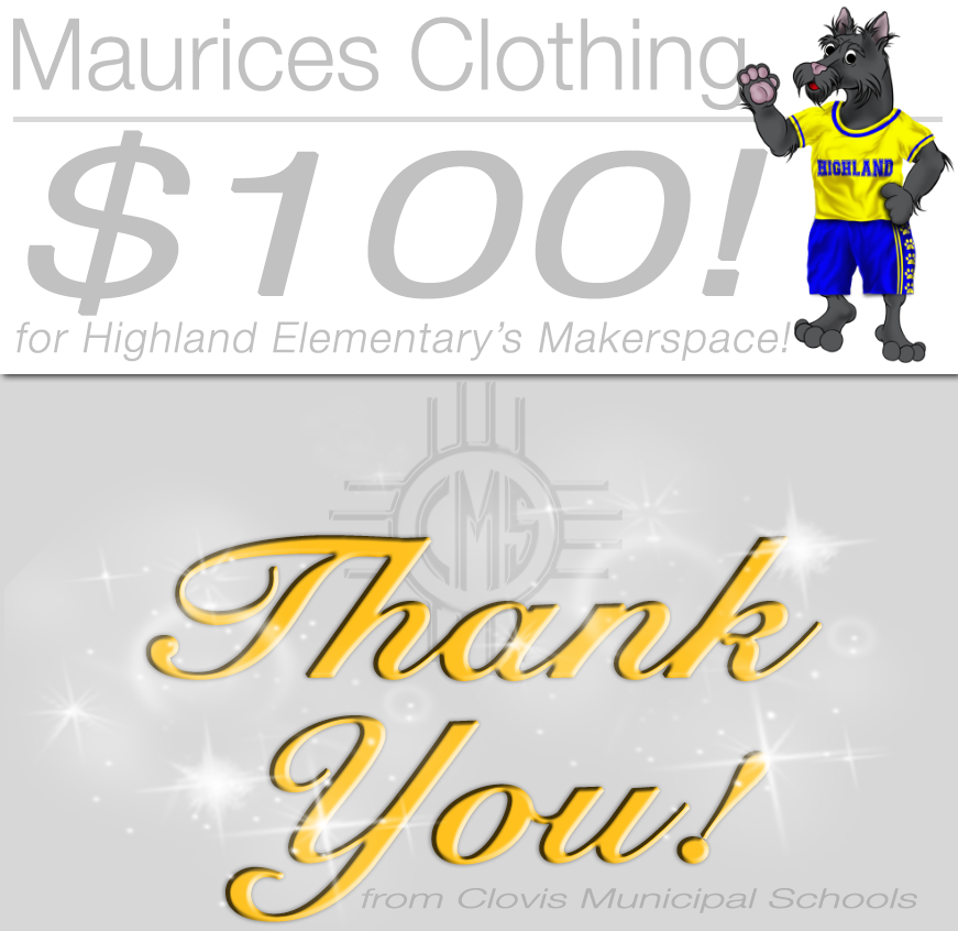 Image of text announcing donation from Maurices