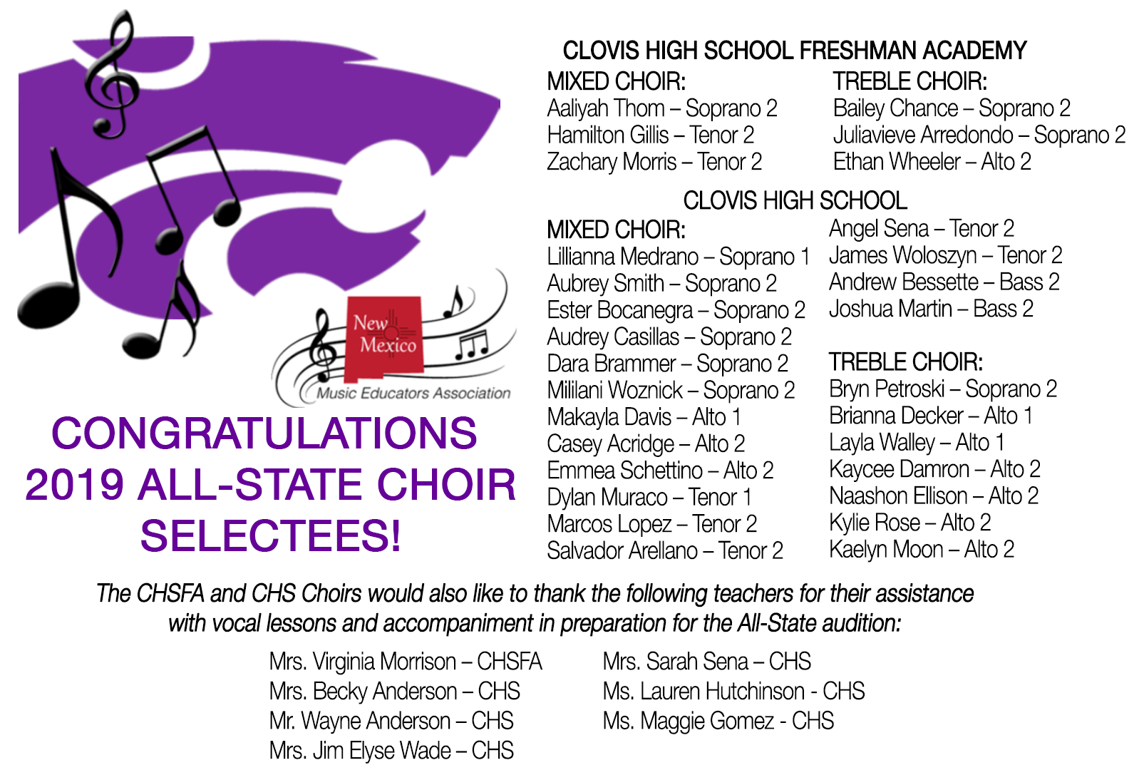Image of text announcing All-State Selections