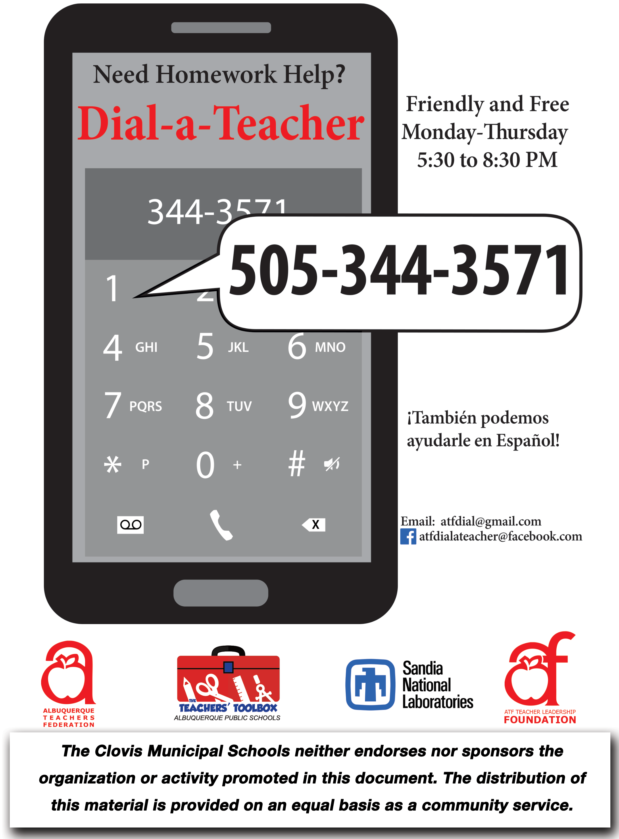 Image of text announcing DIAL-A-TEACHER PROGRAM