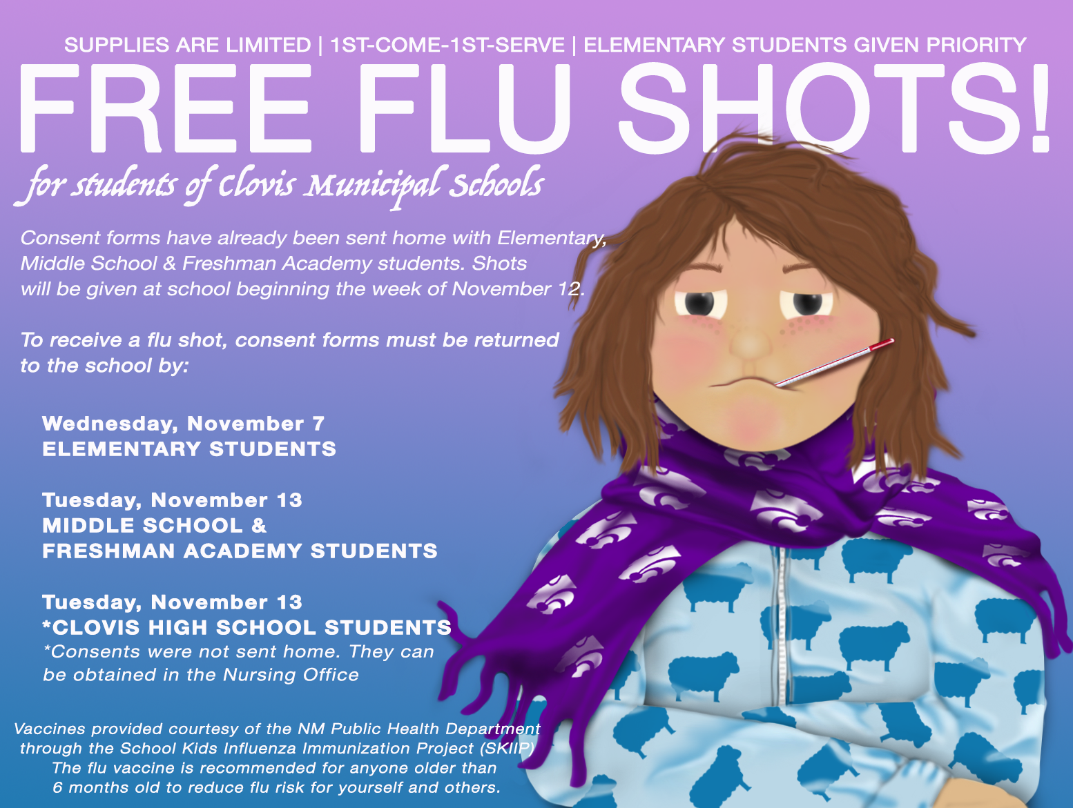Image of text announcing free flu shots for students