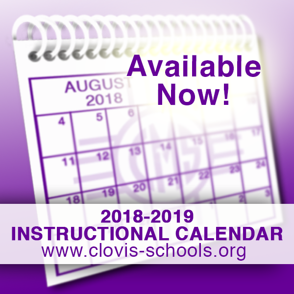 Image of calendar announcing 2018-2019 Instructional Calendar