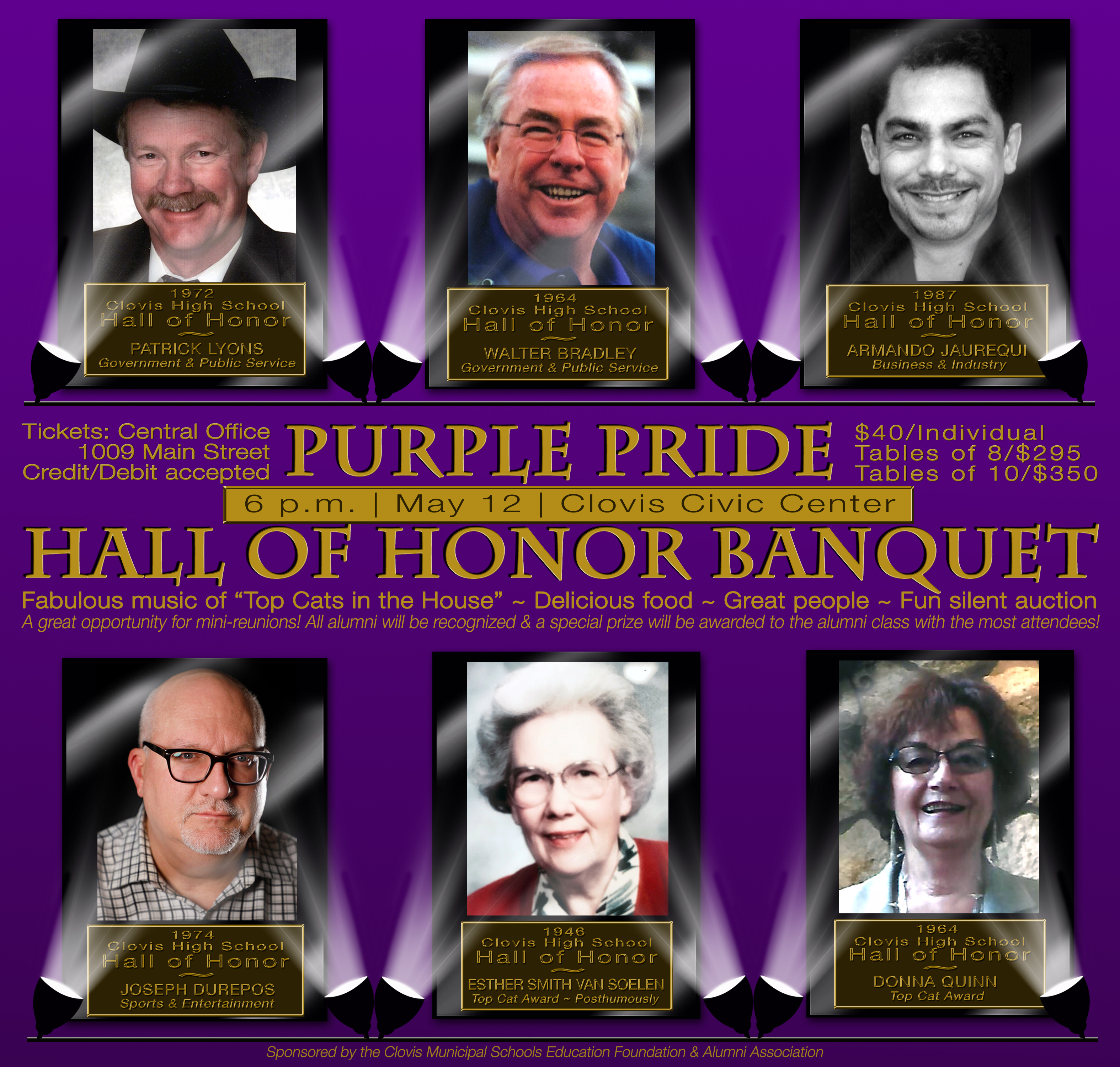 Image with text announcing Hall of Honor Banquet