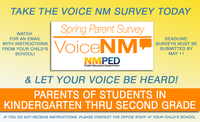 Image with text announcing Spring Parent Survey