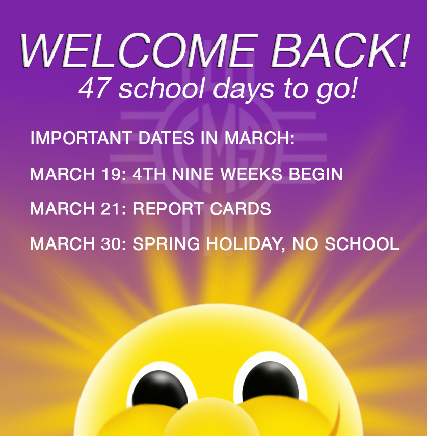 Image of Sunshine with text of March events