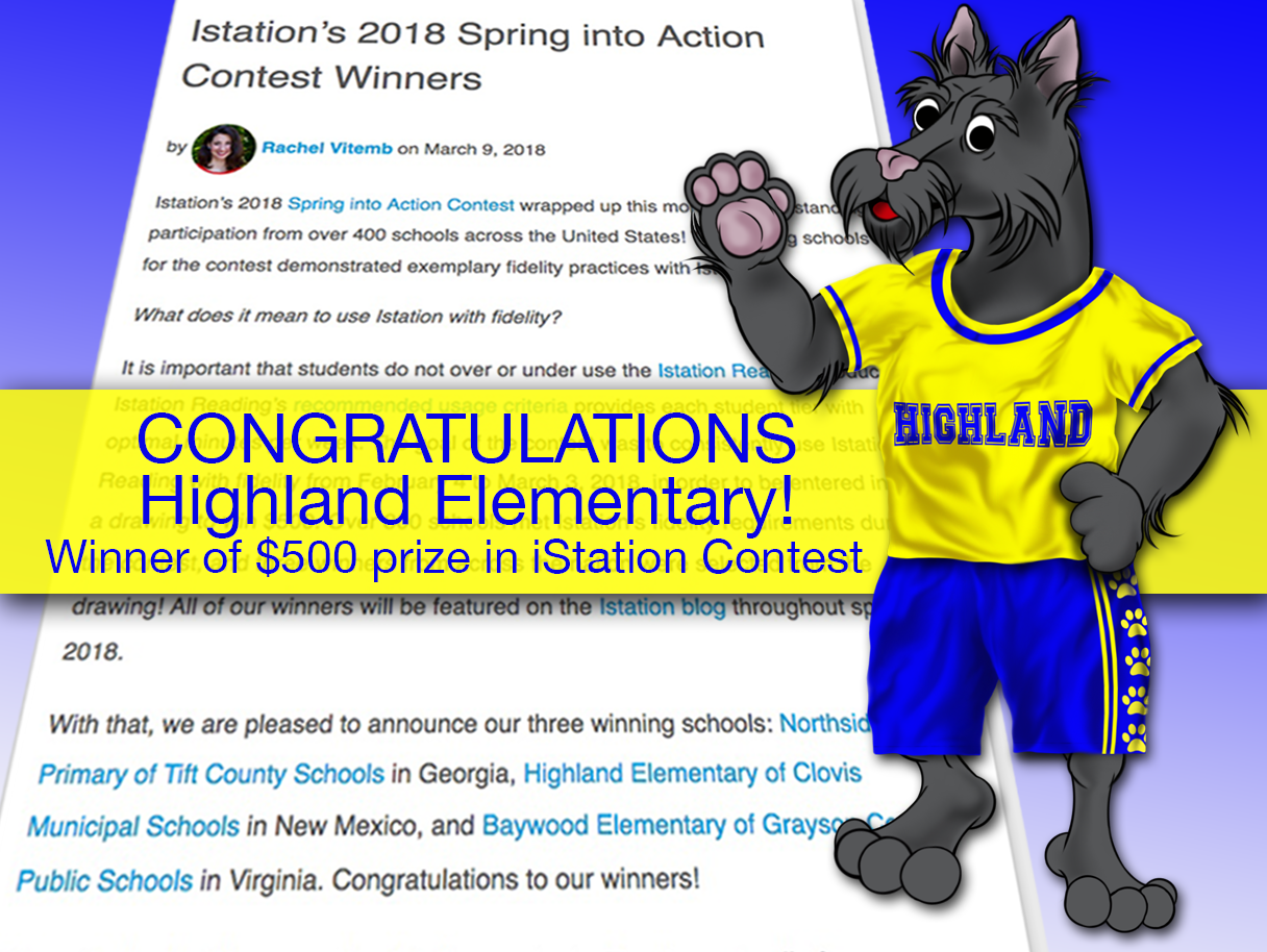 Image of article about iStation contest with Highland mascot