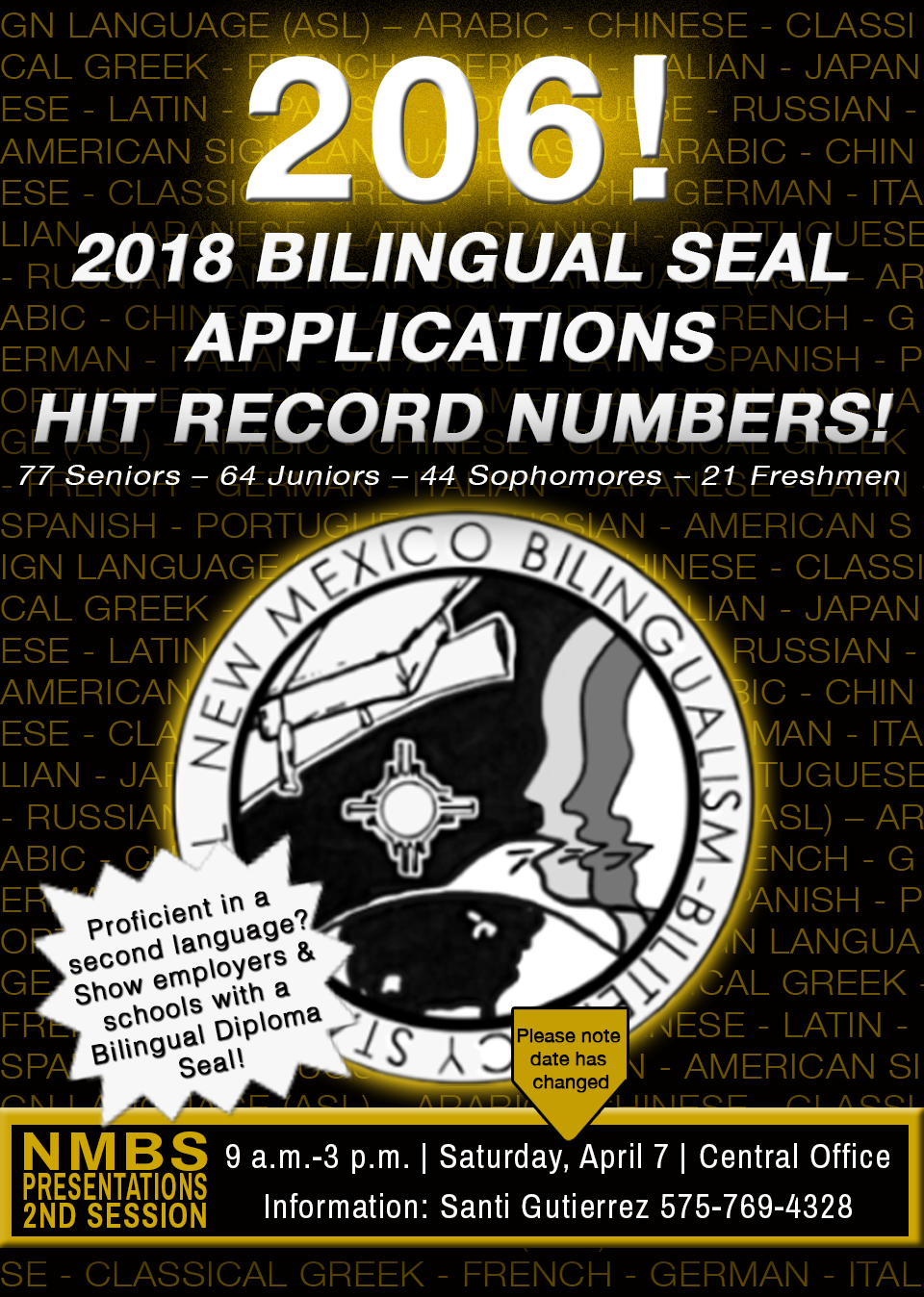 Image containing text announcing bilingual seal registrations