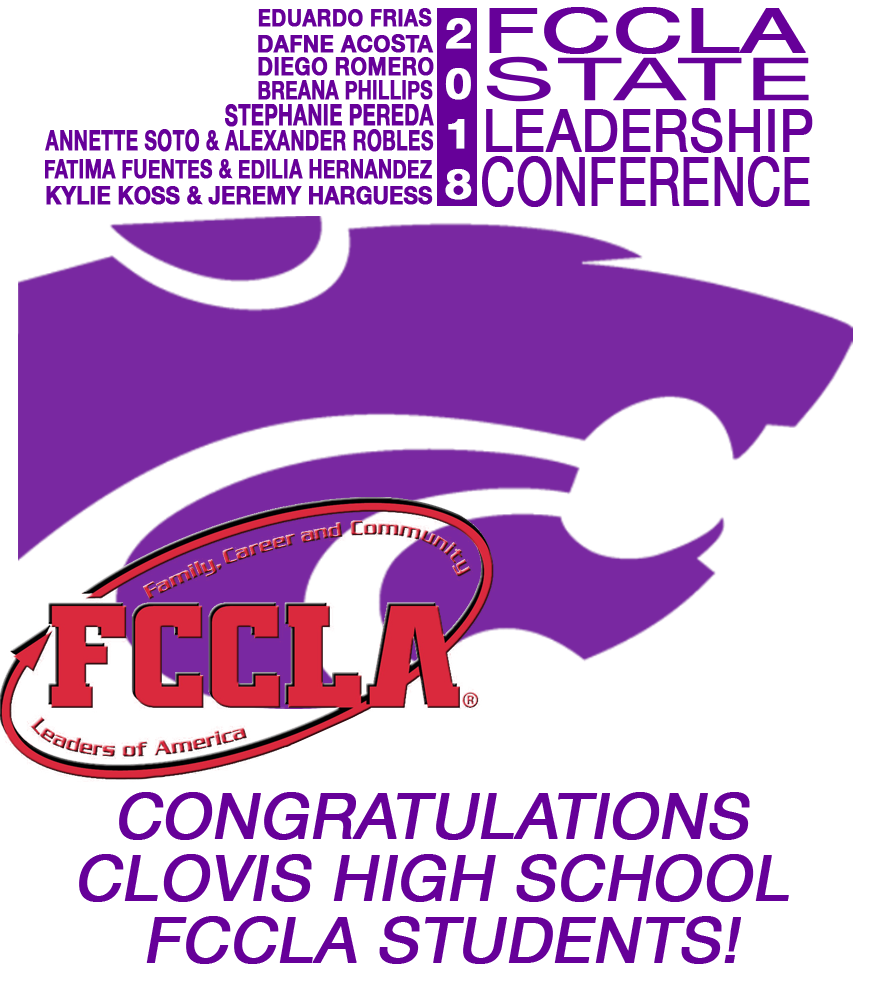 Image containing text announcing FCCLA awards