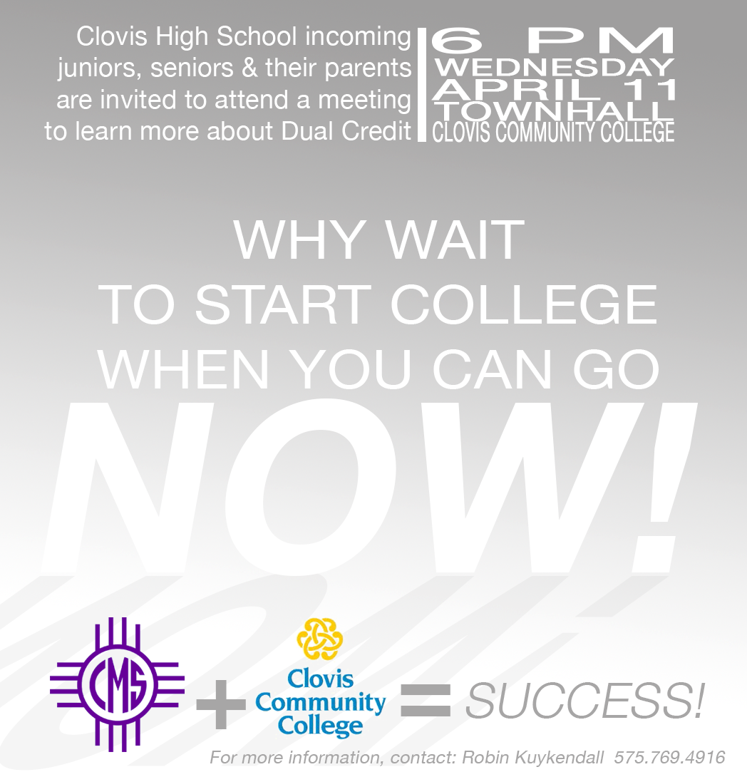 Image with text announcing DUAL CREDIT MEETING