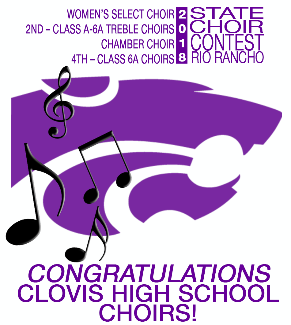 Image with text announcing CHS Choir awards at state contest