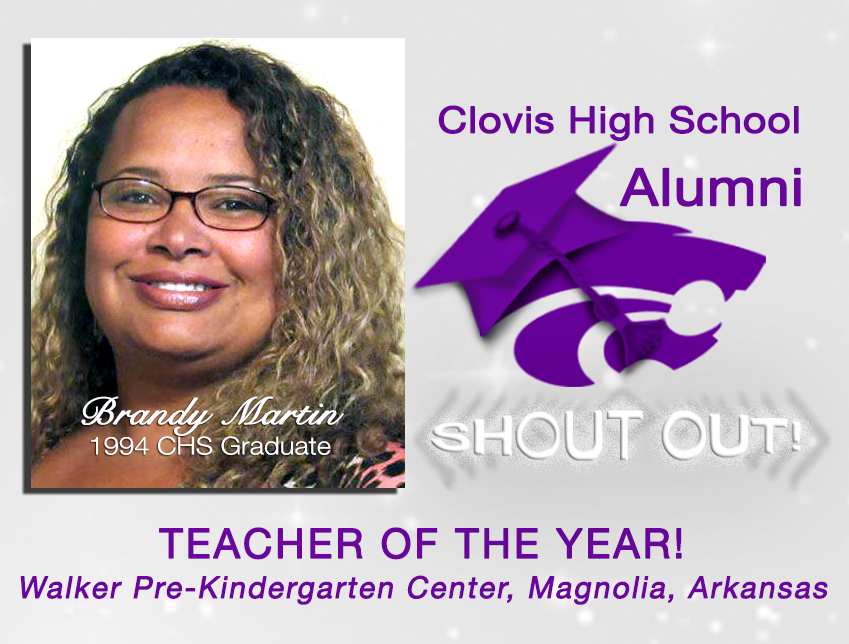 Image with text announcing Brandy Martin, Teacher of the Year