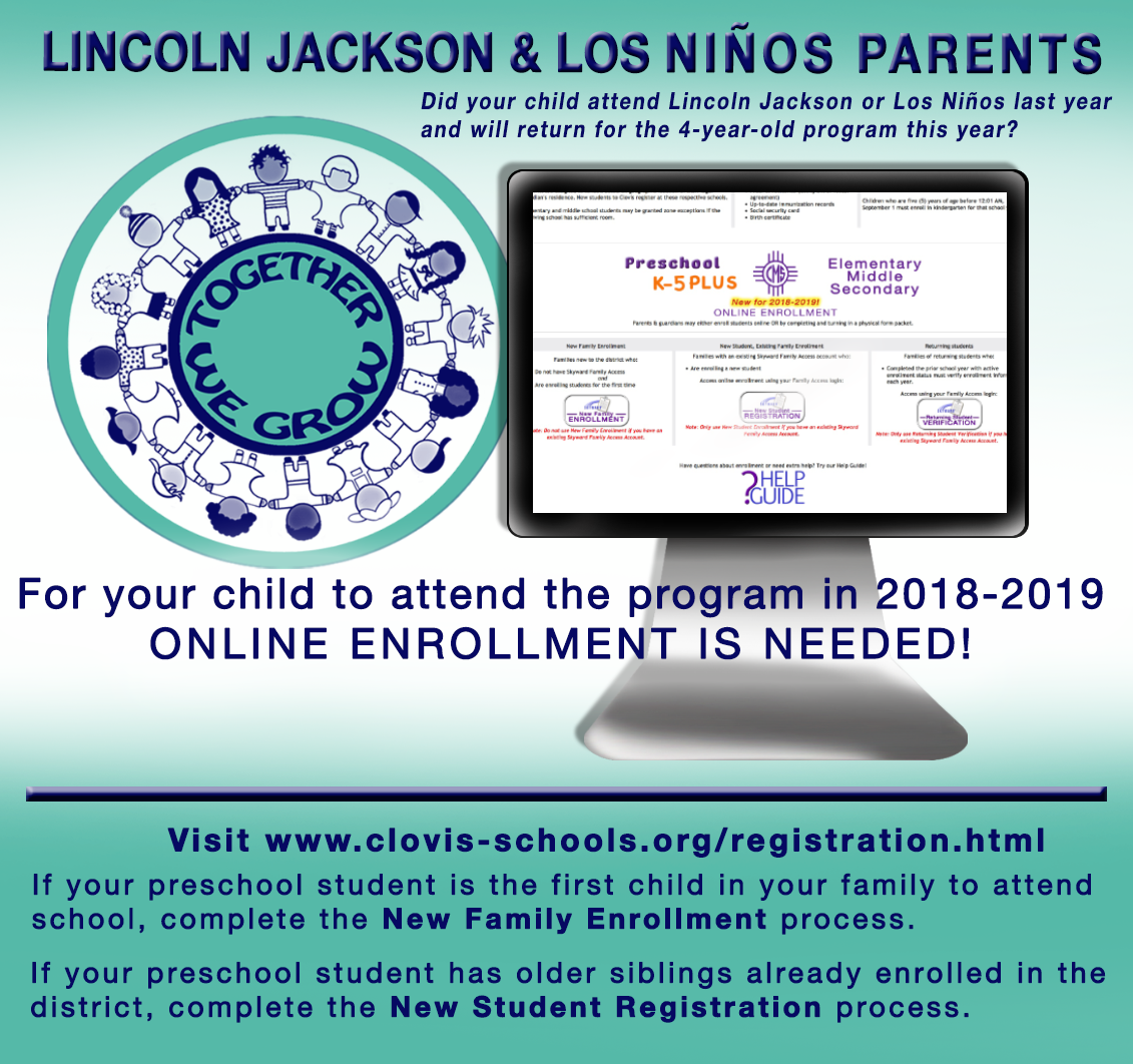 Image with text explaining returning Pre-K online enrollment