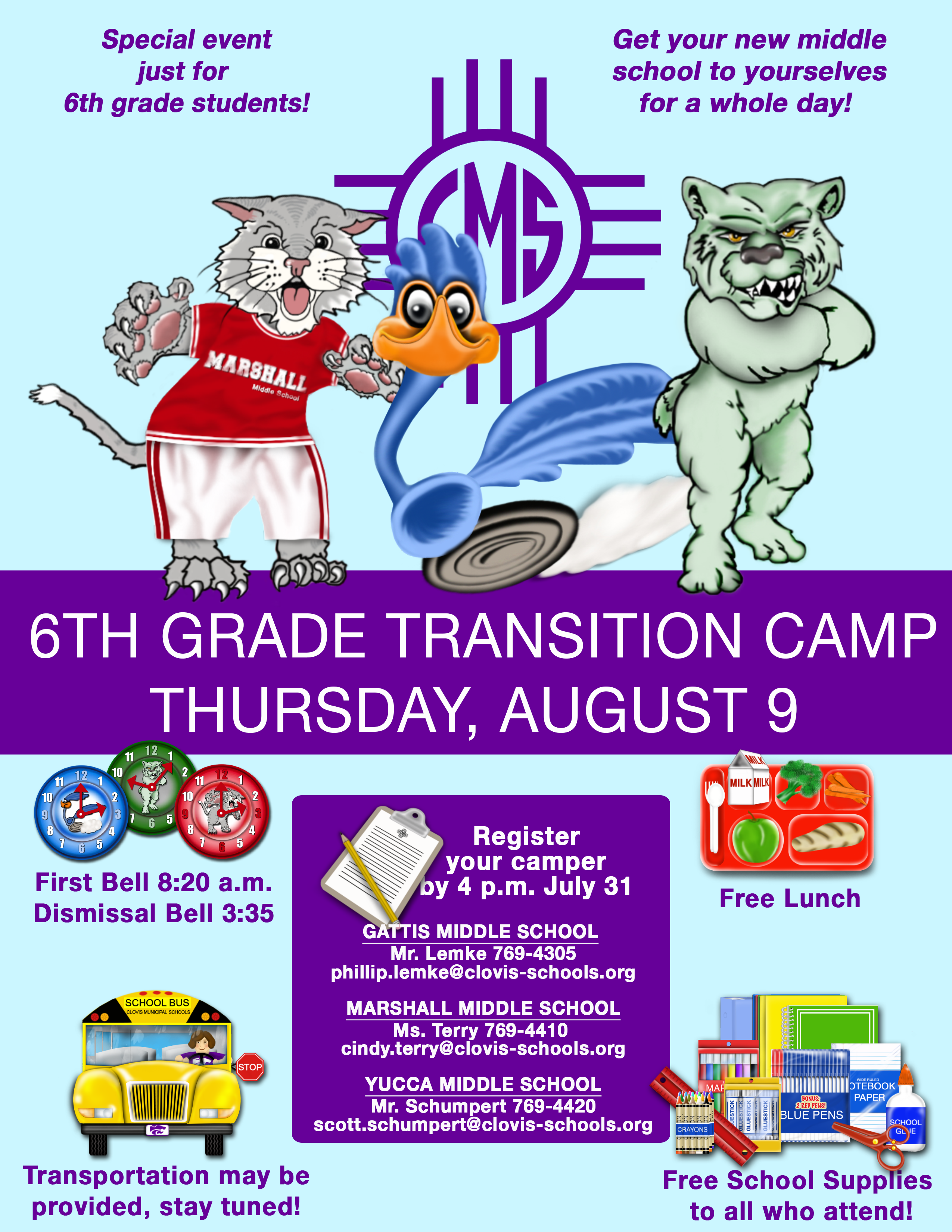 Image with text announcing 6th grade transition camp