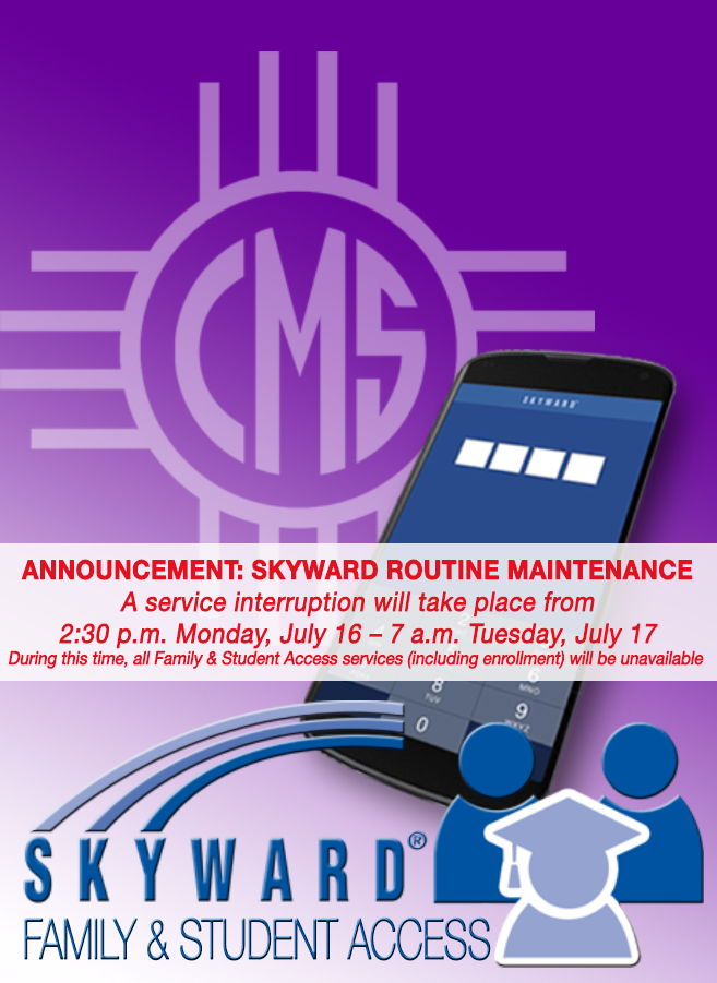 Image with text announcing Skyward maintenance