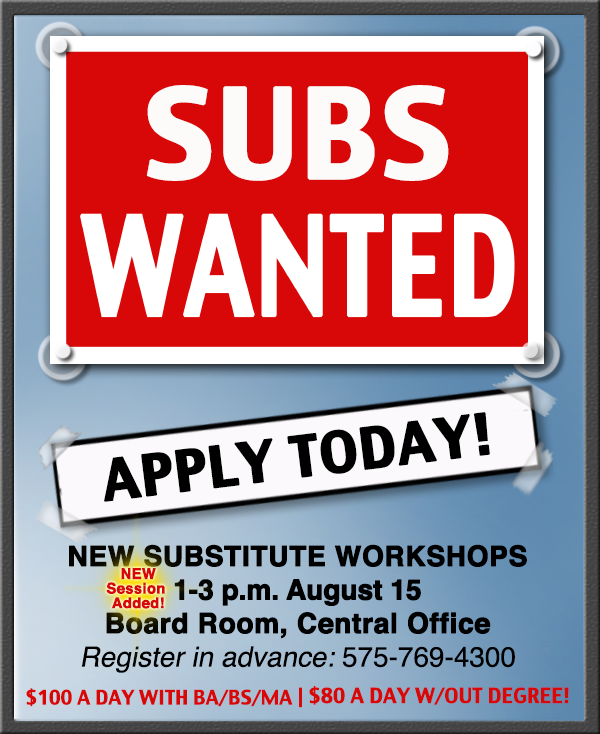 Image with text announcing next Substitute workshop