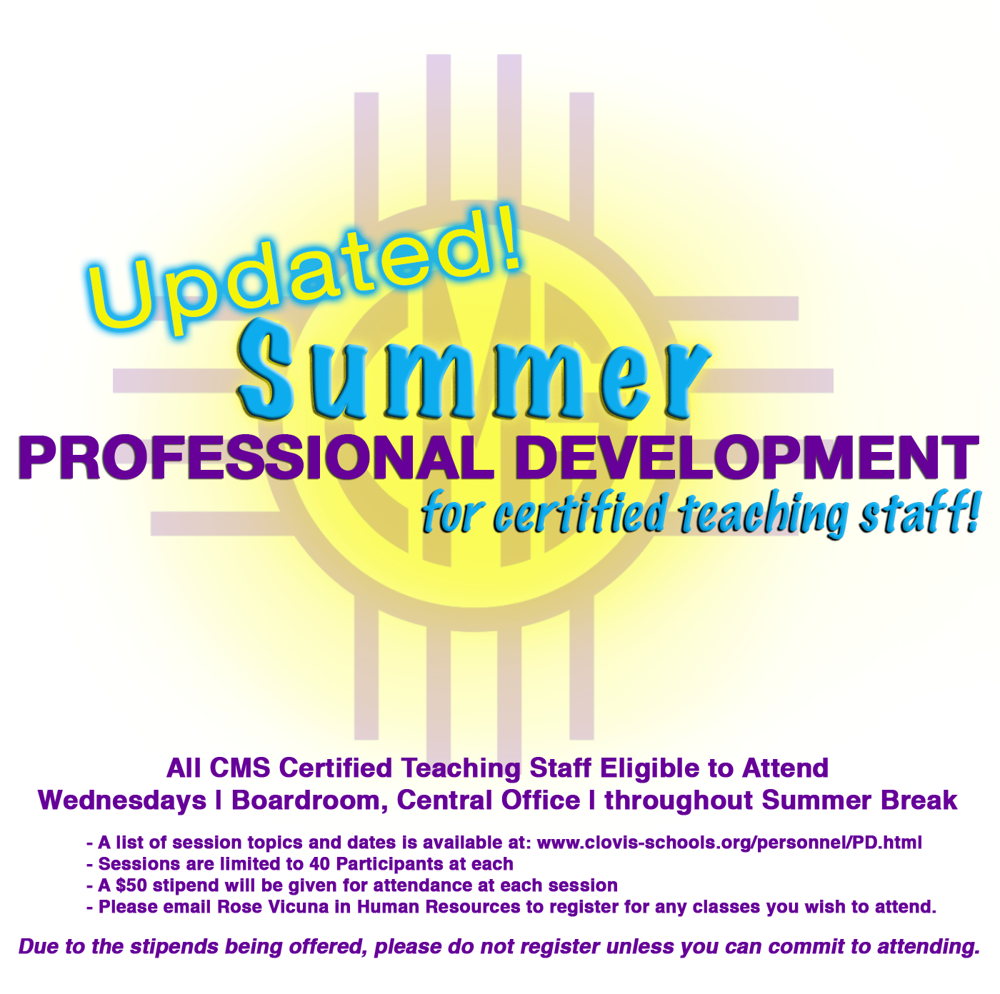Image with text explaining summer professional development for certified teaching staff