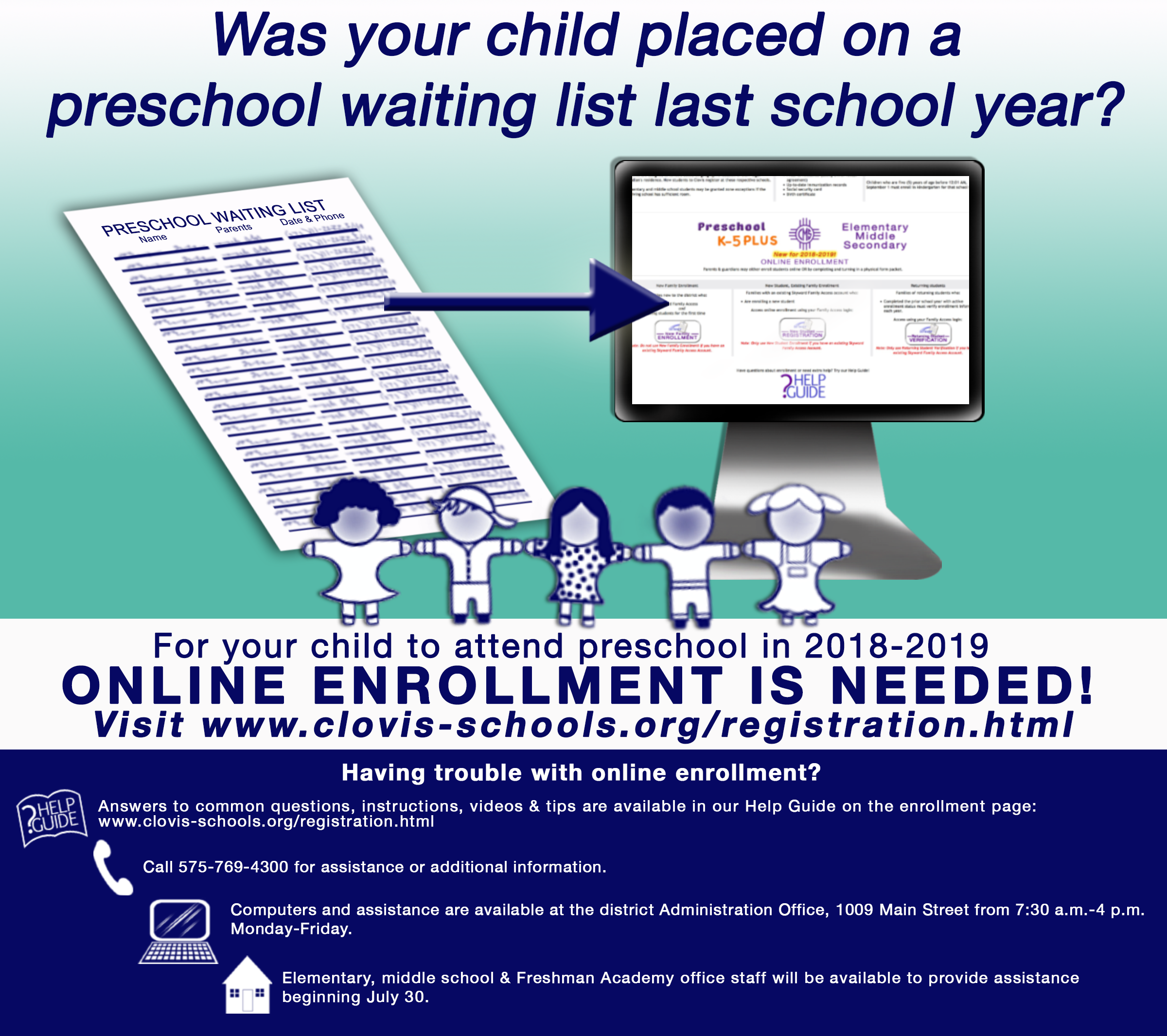 Image with text announcing online enrollment needed for preK students on waiting lists