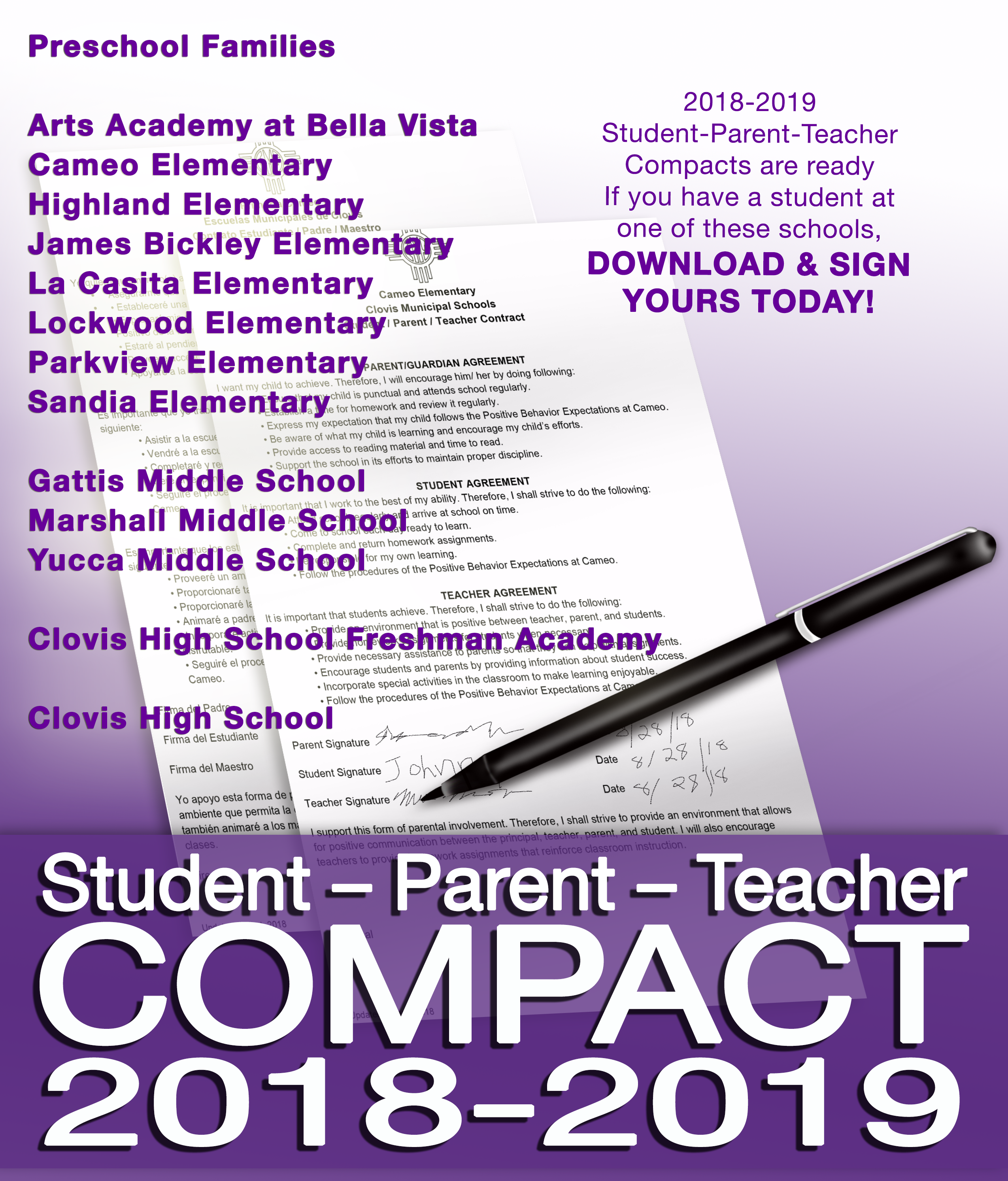 Image of text explaining Student Parent Teacher Compacts