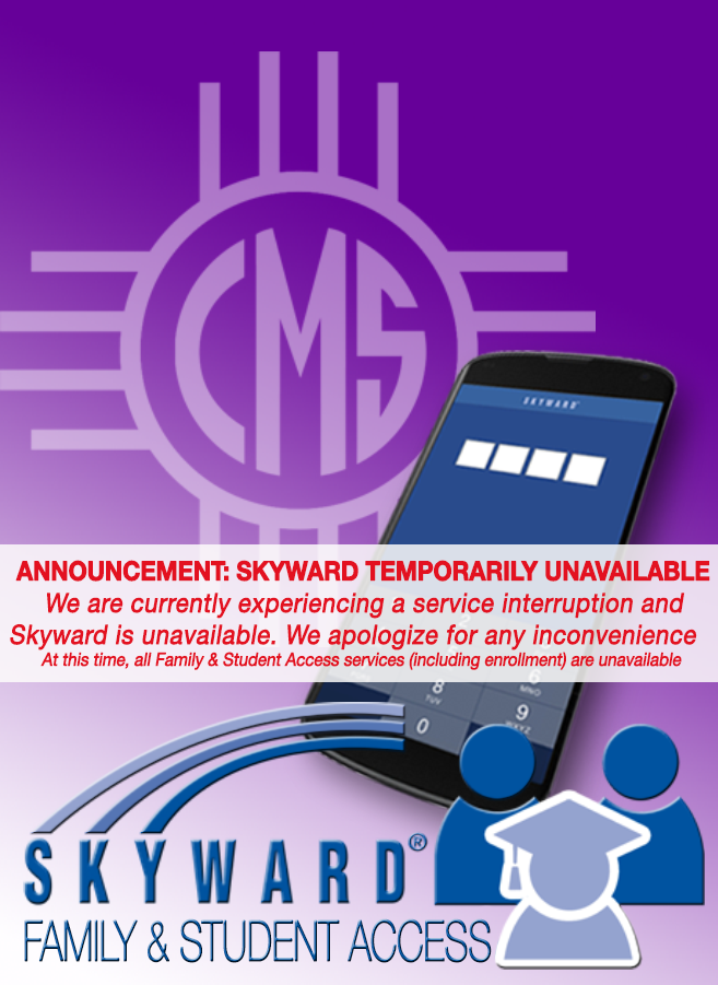 Image of text announcing Skyward system outage