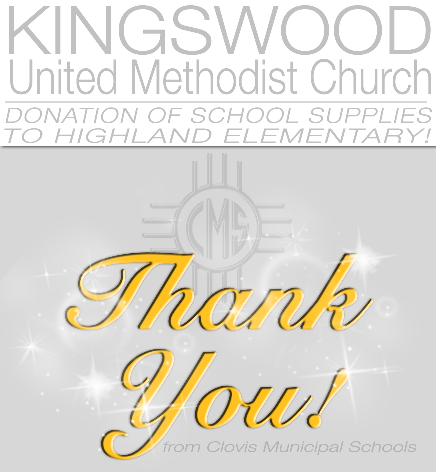 Image of text announcing donations from Kingswood United Methodist Church