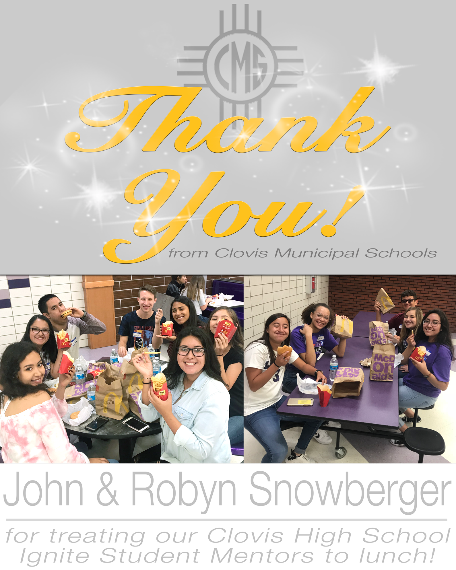 Image of text Thanking John and Robyn Snowberger