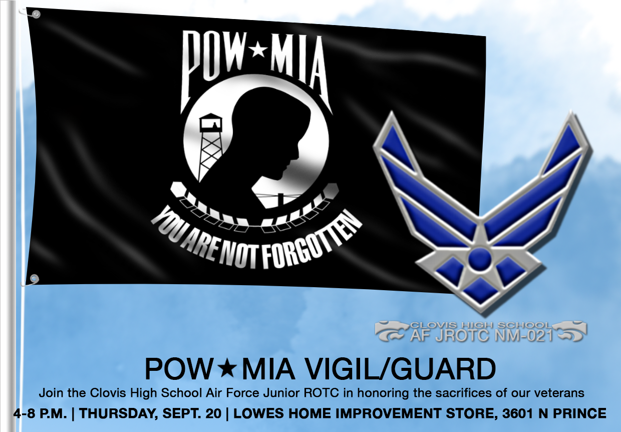 Image of POW?MIA flag with text announcing Vigil/guard