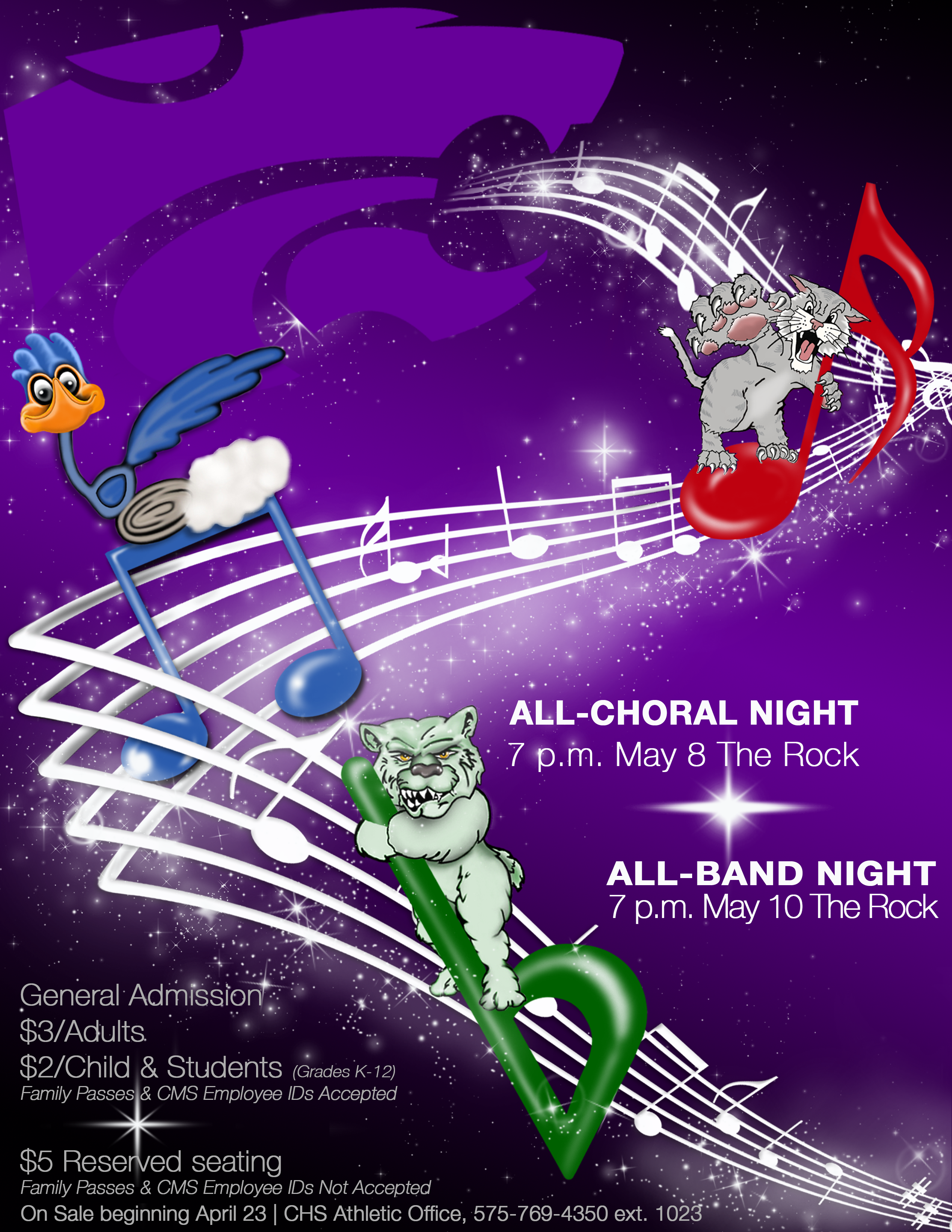Image with text announcing All-band and All-choral nights