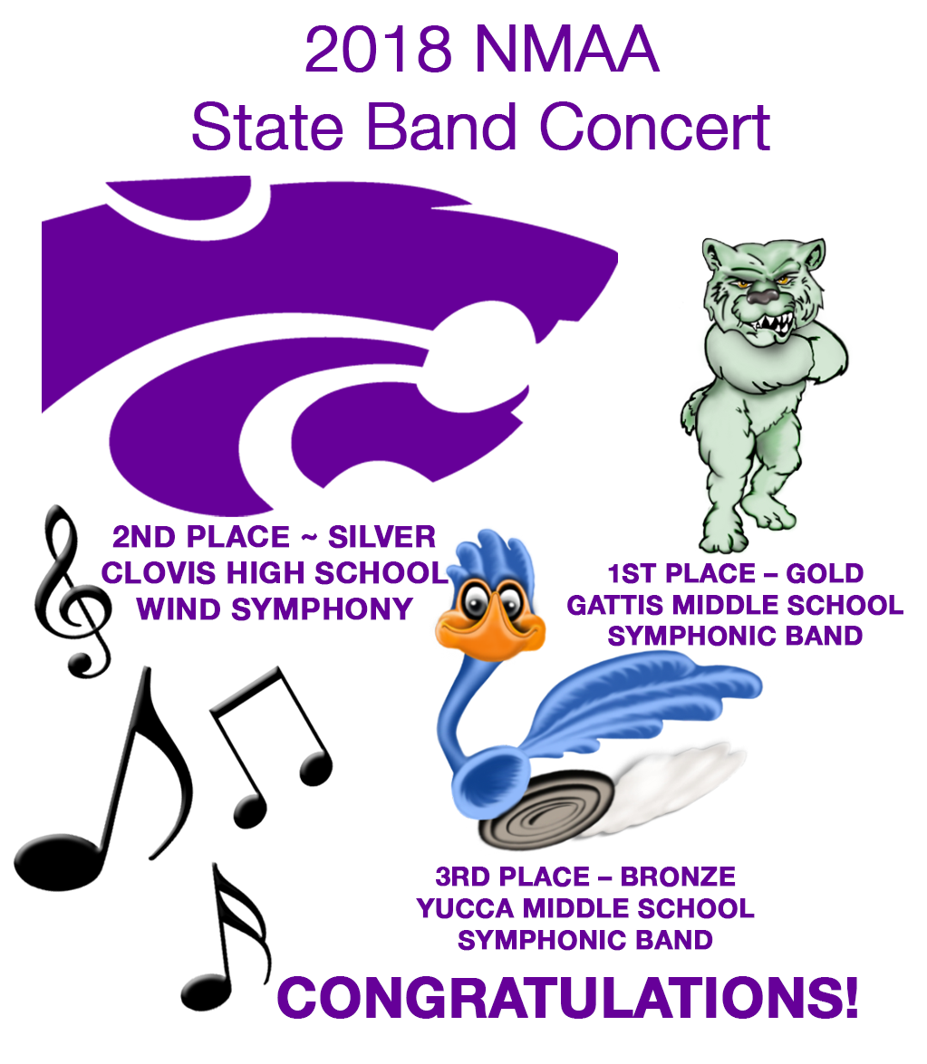Image with text announcing NMAA Band Competition results