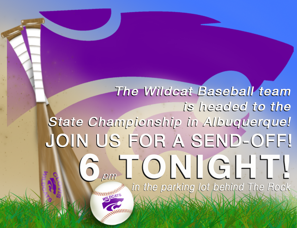 Image with text announcing send-off for Wildcat Baseball team