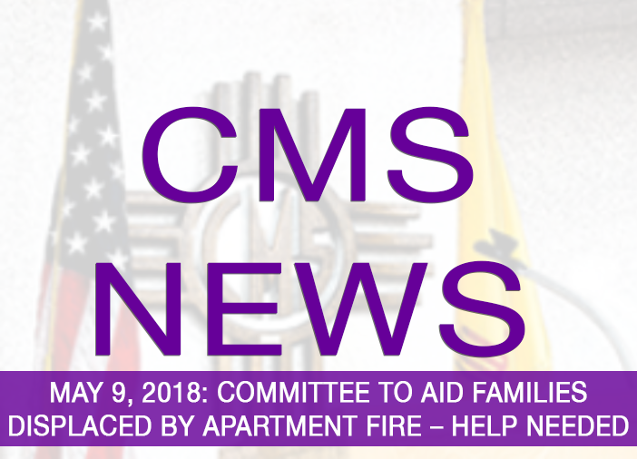 Image with text announcing need for assistance for fire victims