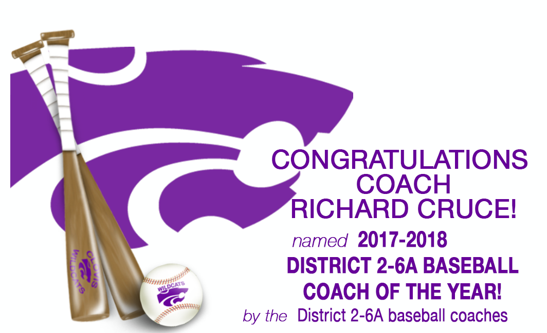 Image with text announcingRichard Cruce, Baseball Coach of the Year
