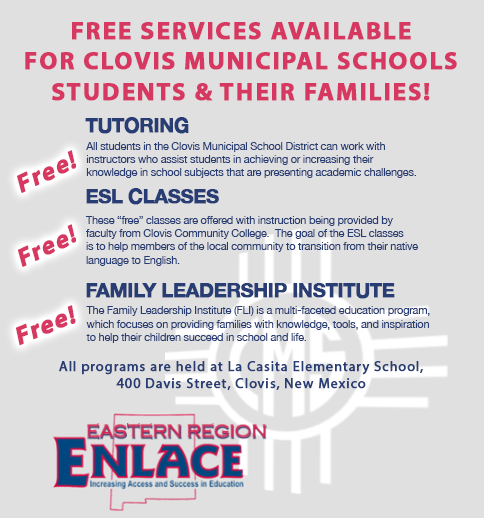 Image of text announcing Free ENLACE services