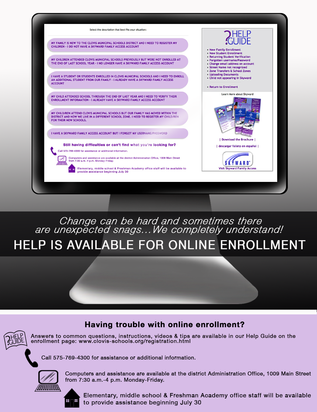 Image with text explaining different ways to access help with online enrollment