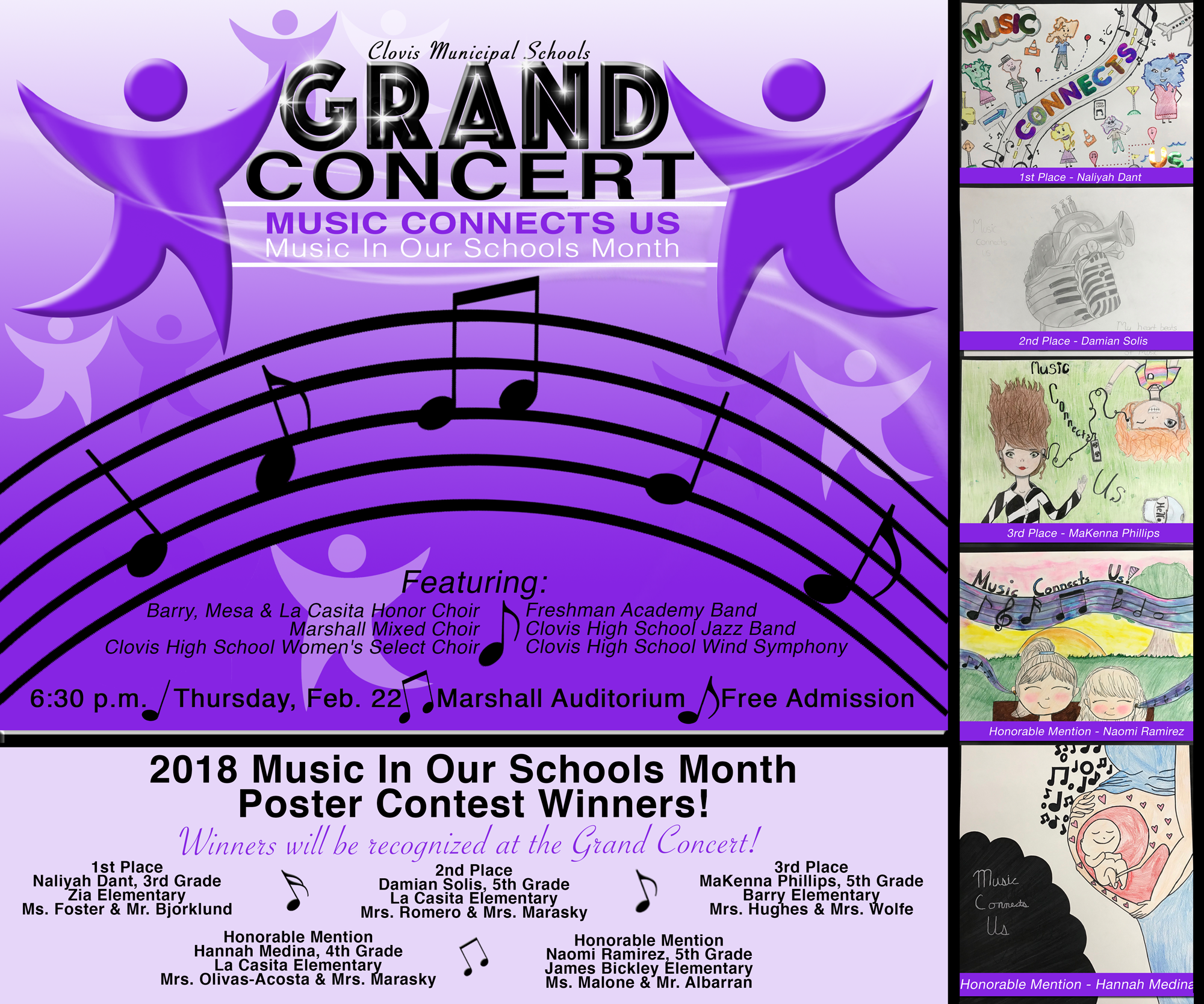 Image announcing grand concert and poster contest winners with text