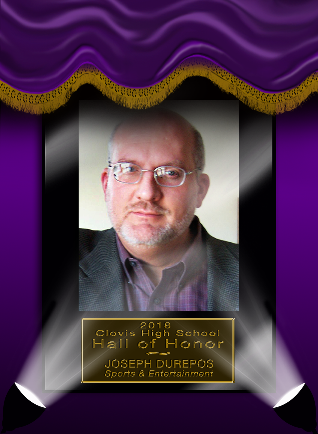 Image with text announcing Hall of Honor Inductee Joseph Durepos