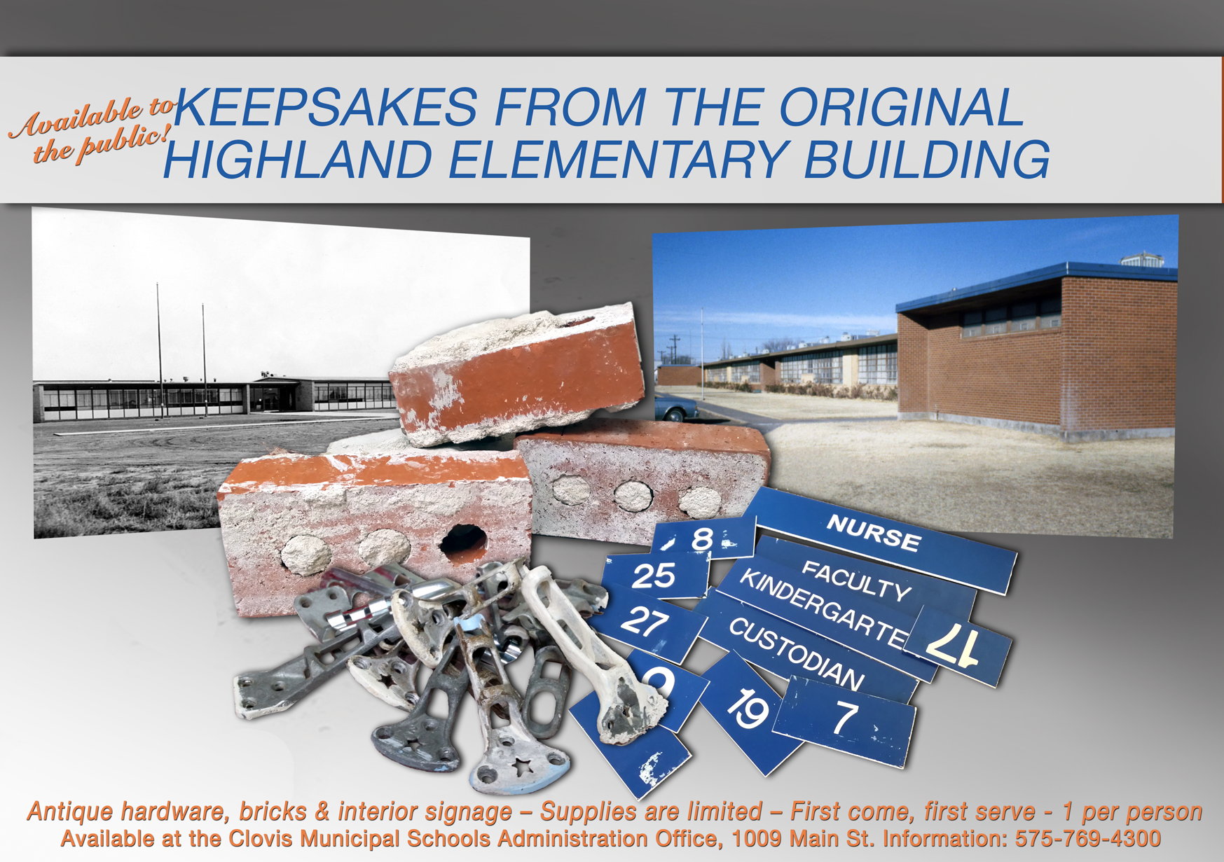 Image with text announcing Highland building keepsakes