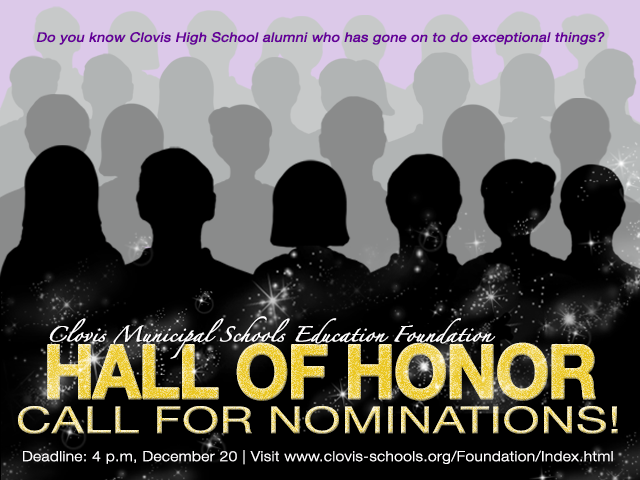 Image of text announcing Hall of Honor nominations