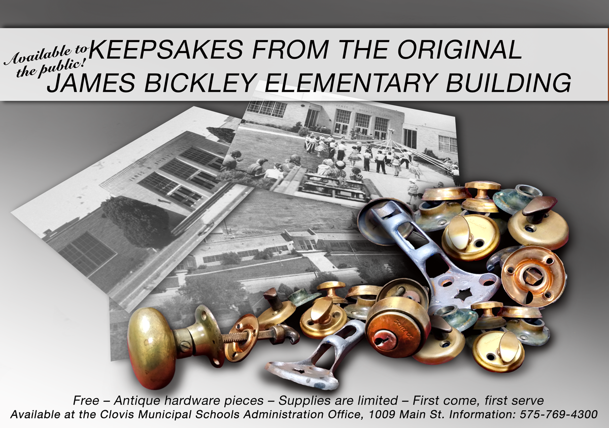 Image of hardware with photos of old James Bickley building and text