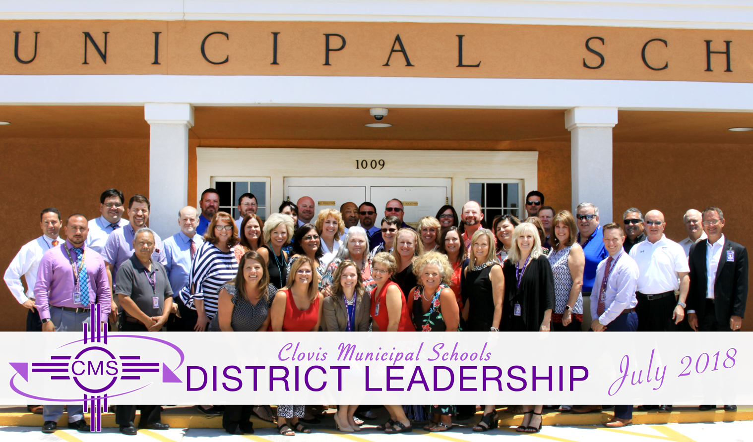 Image with text introducing the district leadership team