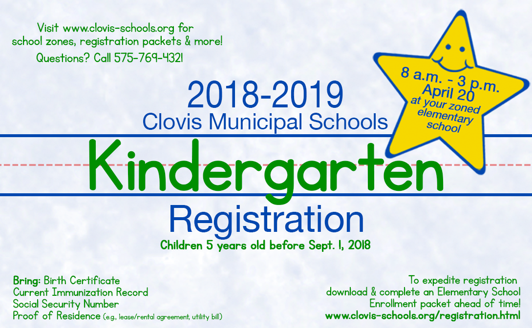 Image of kindergarten registration announcement