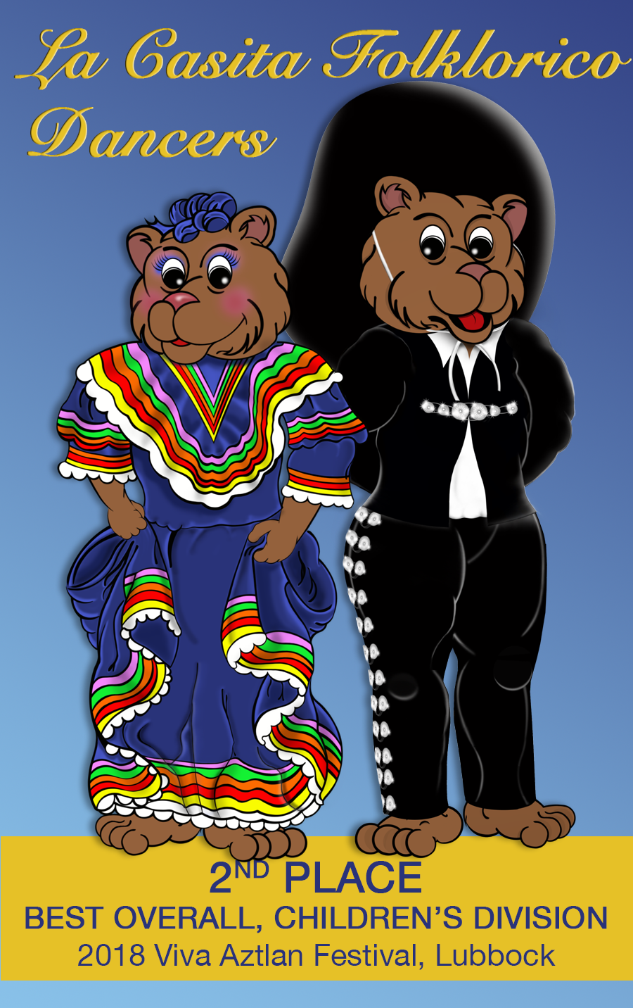 Image with text announcing placement of La Casita Folklorico at Lubbock competition