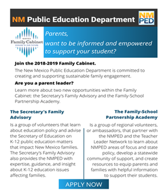 Image with text announcing call for applications to NMPED Family Cabinet