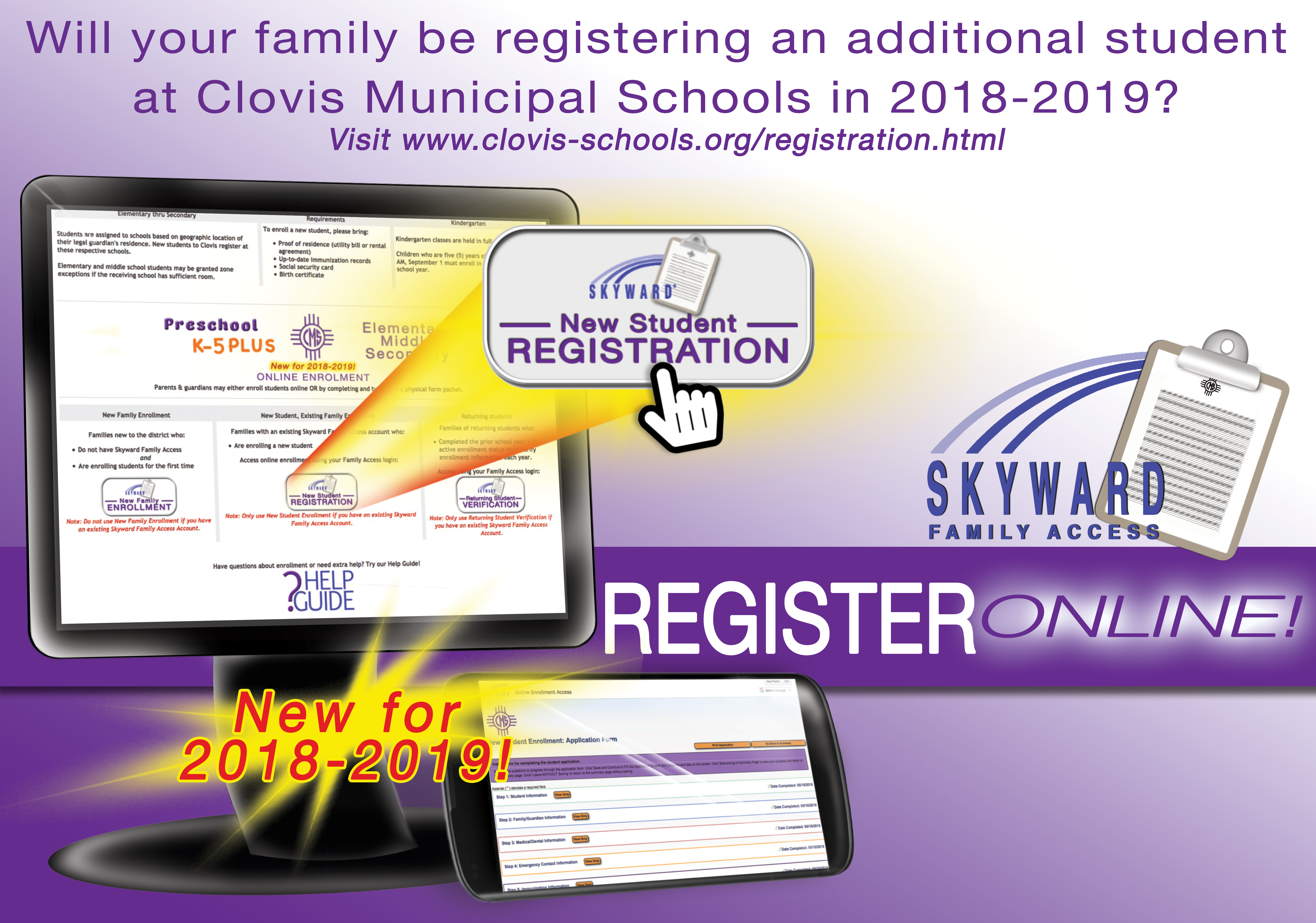 Image announcing online New Student Registration