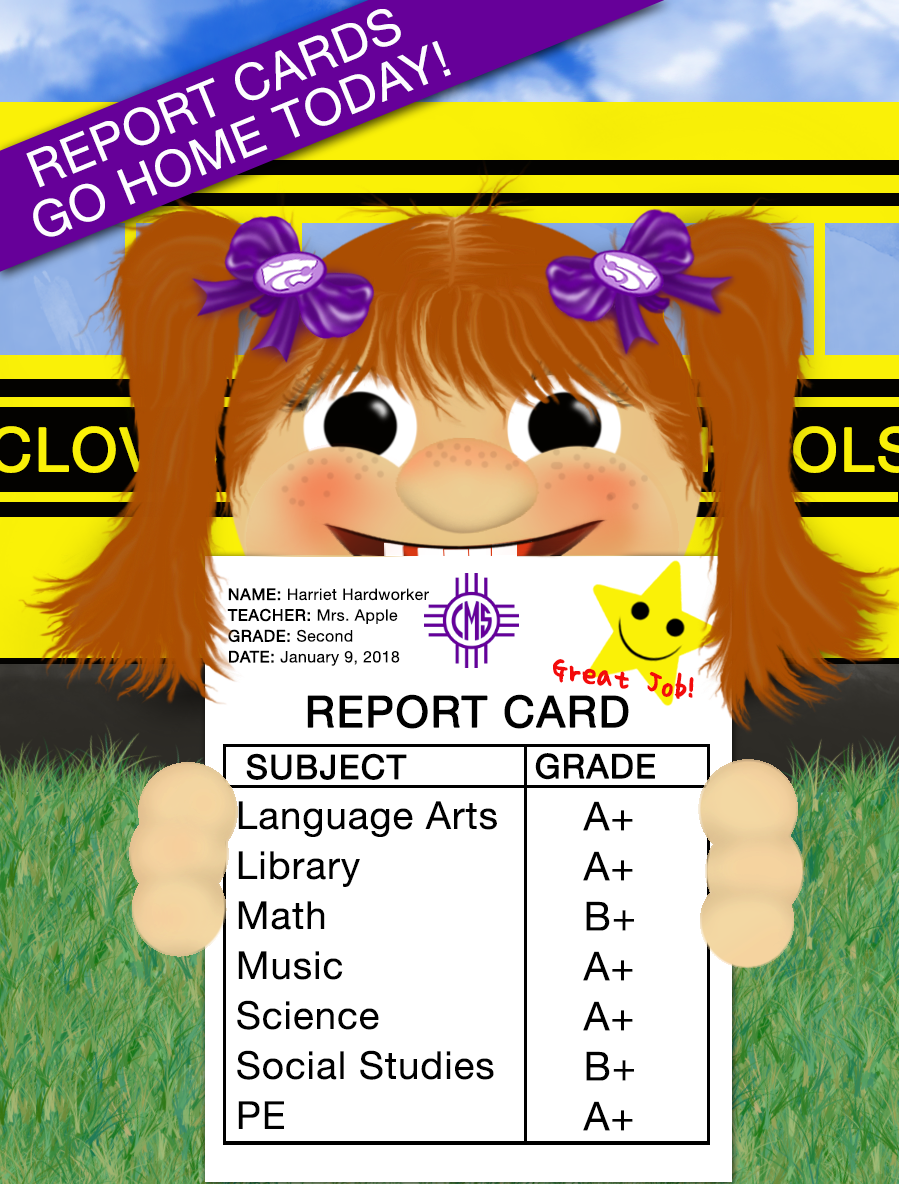 Image of female student holding a report card with text