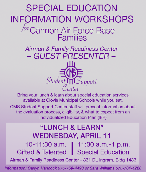 Image with text announcing family information sessions